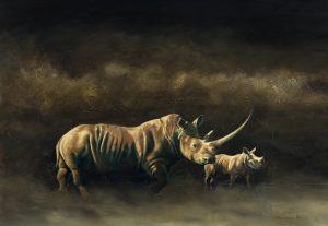 Otoro and Calf by Karen Laurence-Rowe Riverside Gallery Barnes