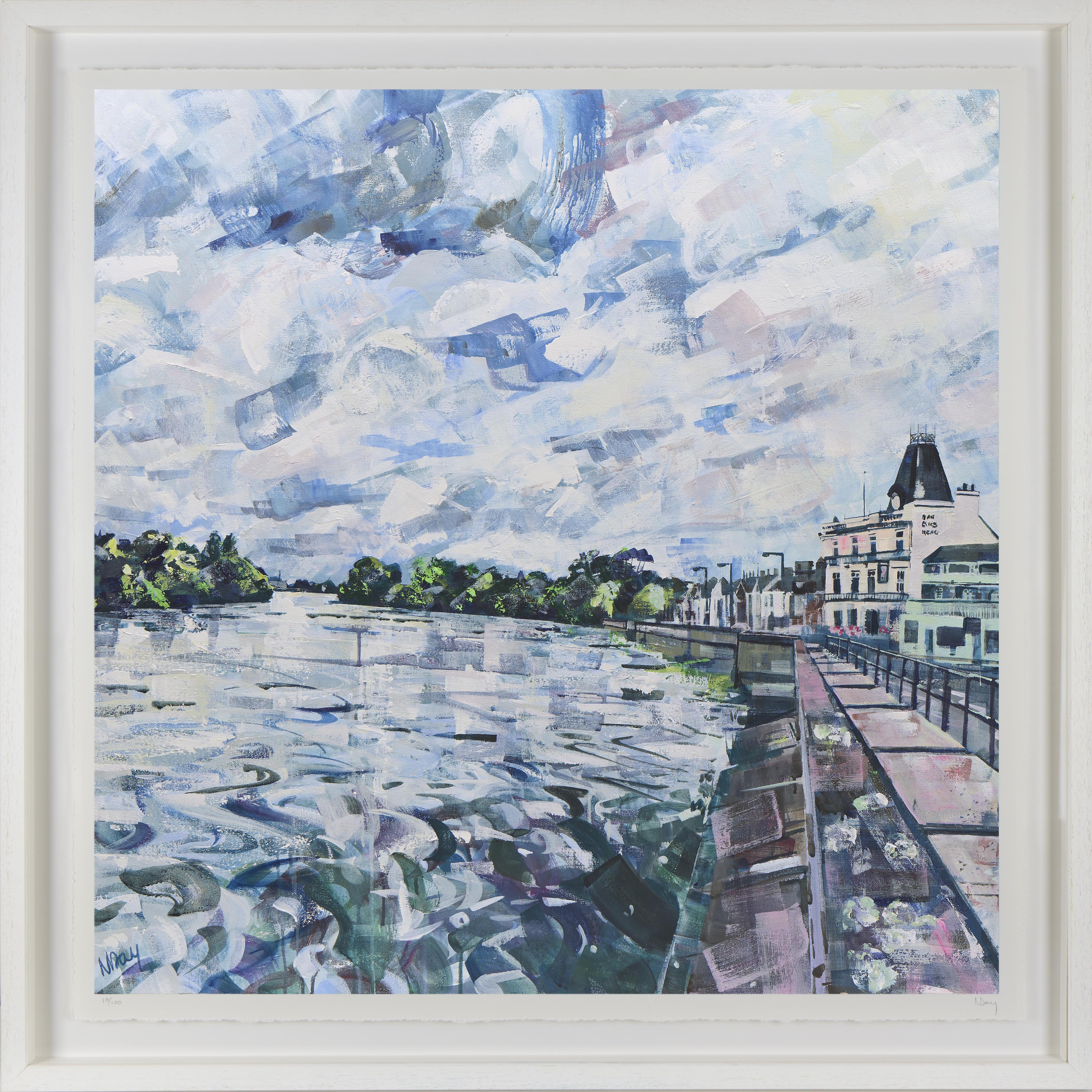 Print of Barnes Towpath 80x80cm by Nadia Day at Riverside Gallery Barnes