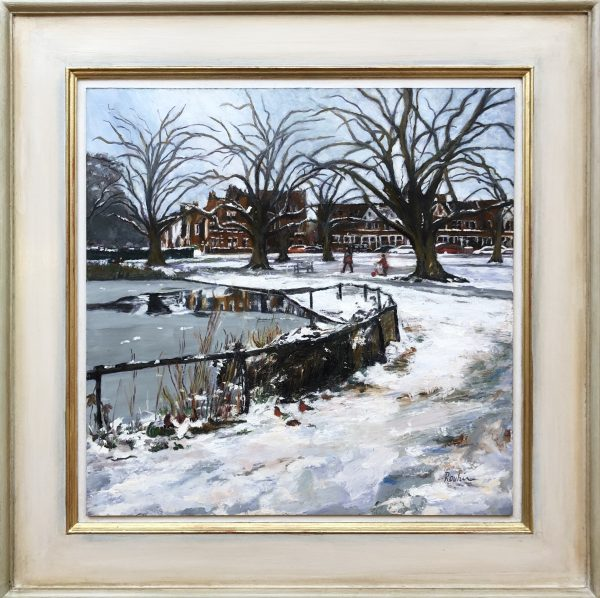 Barnes Pond, Winter by Rouhi Peck (with frame)