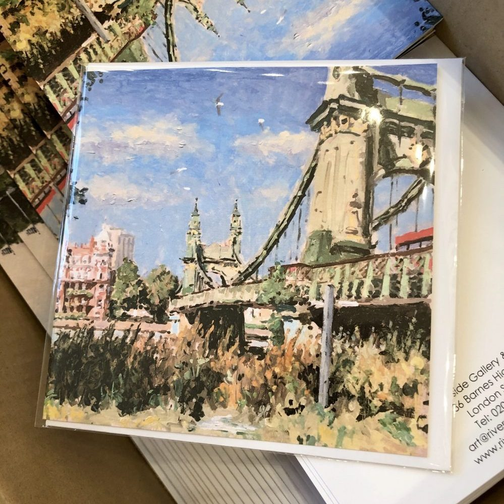 Sunny Hammersmith Bridge greeting card by Rod Pearce