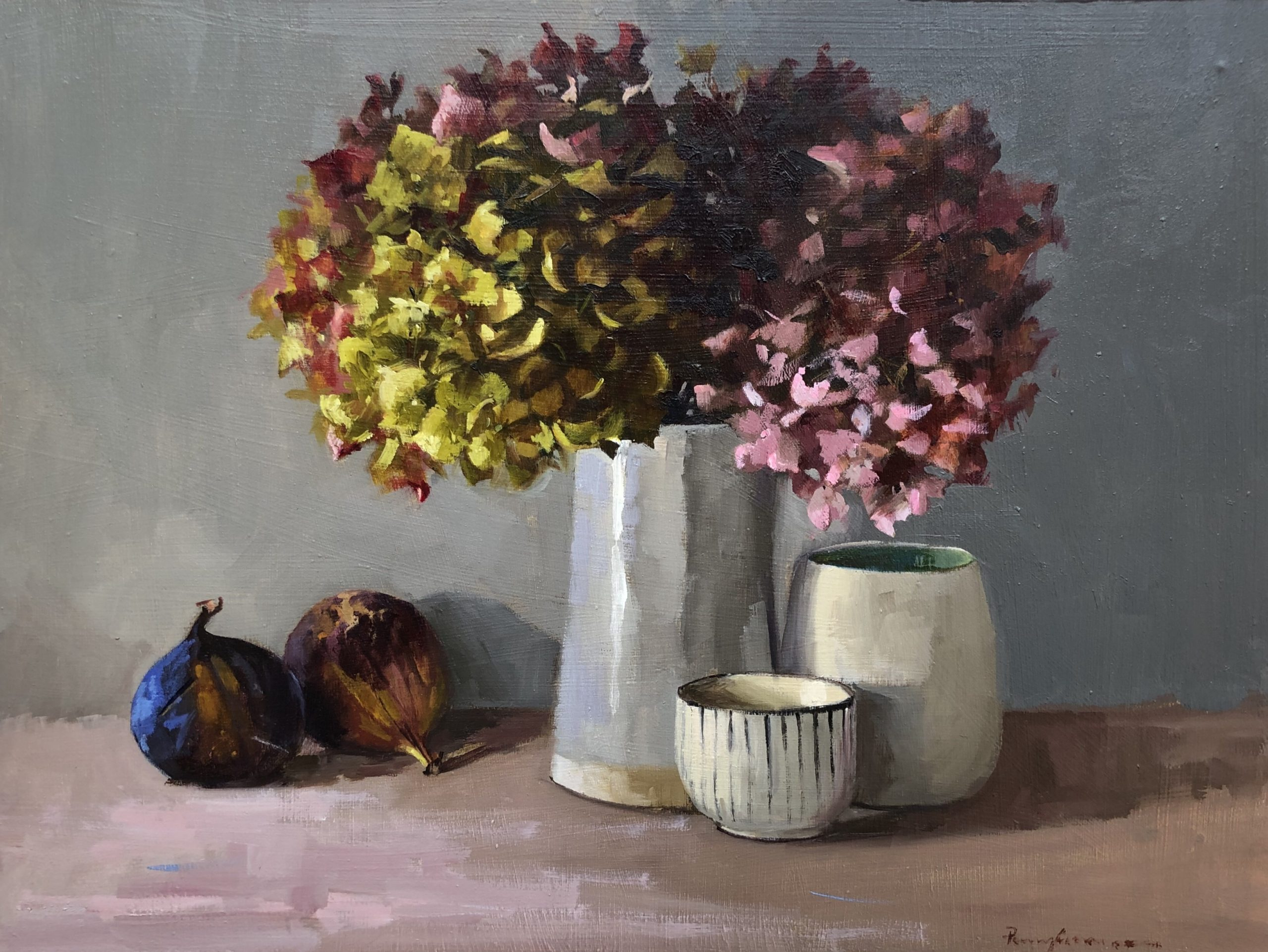 Hydrangeas, figs and pots by Penny German