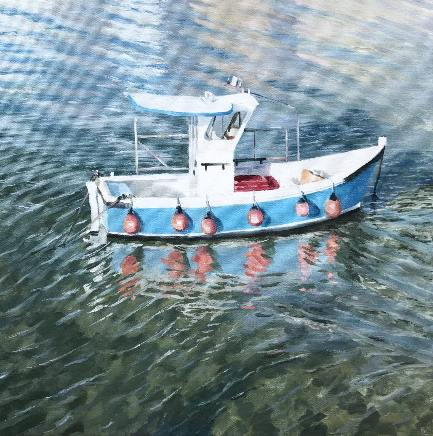 Fishing Boat with Buoys by Lesley Dabson