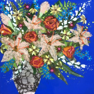 Lilies and Roses by Nicky Chubb 50x50cm